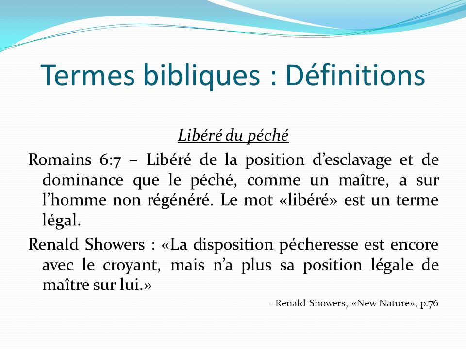 Termes bibliques : Définitions