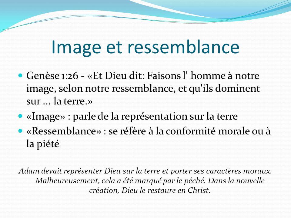 Image et ressemblance Genèse 1:26 - «Et Dieu dit: Faisons l homme à notre image, selon notre ressemblance, et qu ils dominent sur ... la terre.»