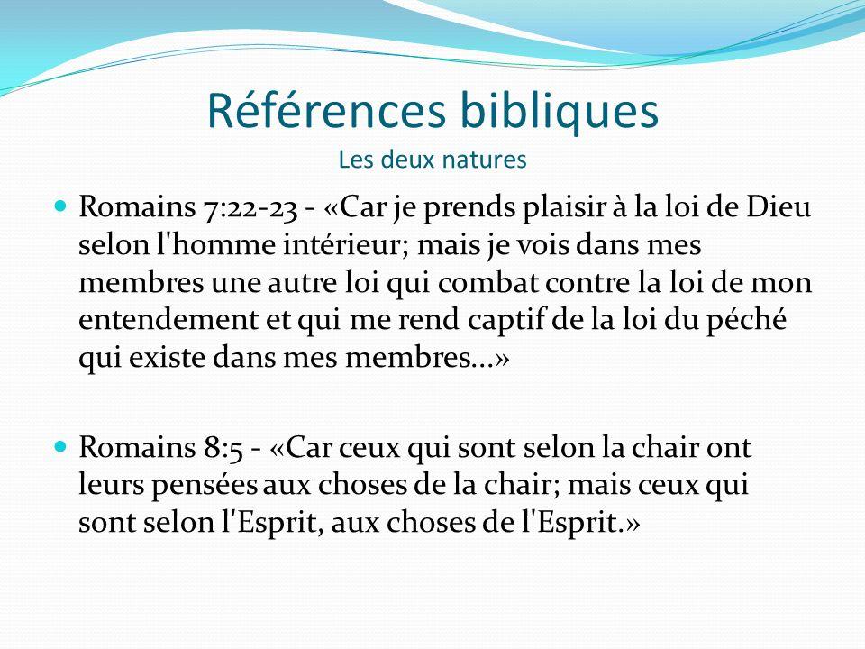 Références bibliques Les deux natures
