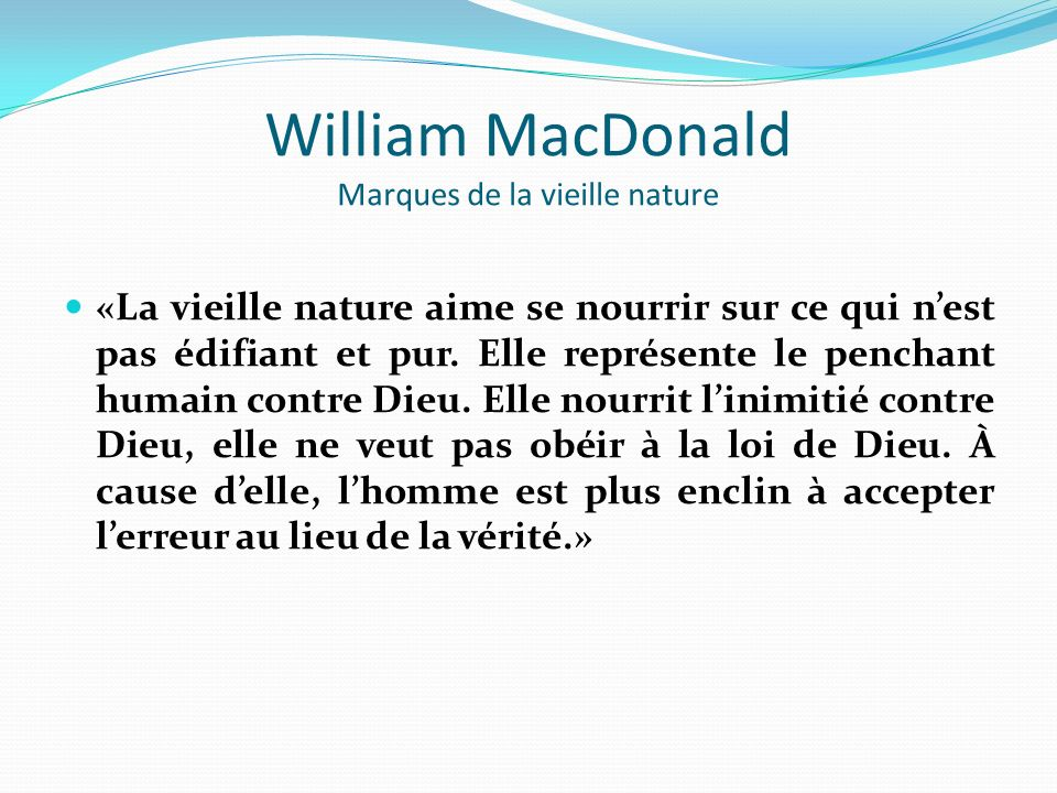 William MacDonald Marques de la vieille nature