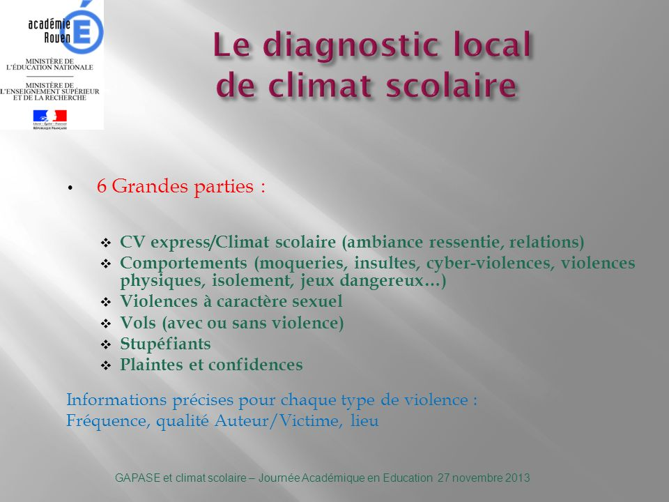 Le diagnostic local de climat scolaire