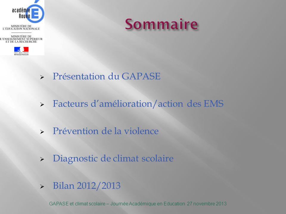Sommaire Présentation du GAPASE Facteurs d'amélioration/action des EMS