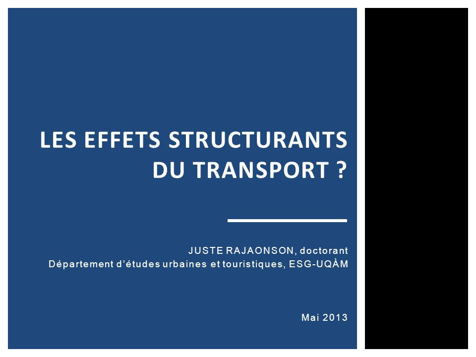 Les effets structurants du transport