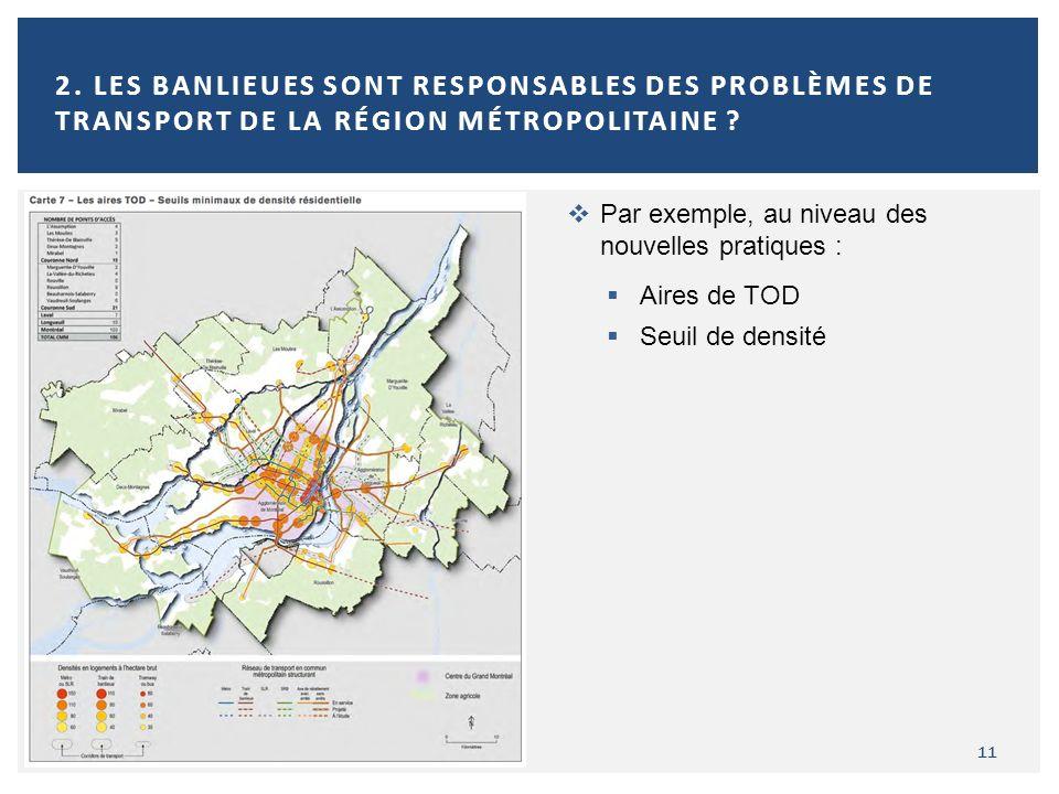 2. Les banlieues sont responsables des problèmes de transport de la région métropolitaine