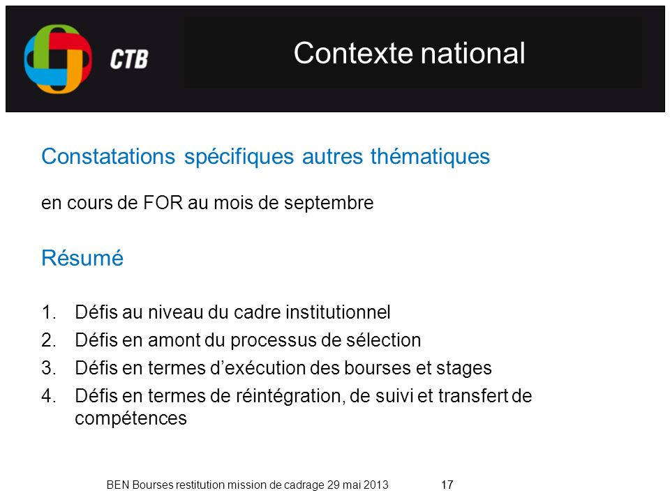 Contexte national Constatations spécifiques autres thématiques Résumé
