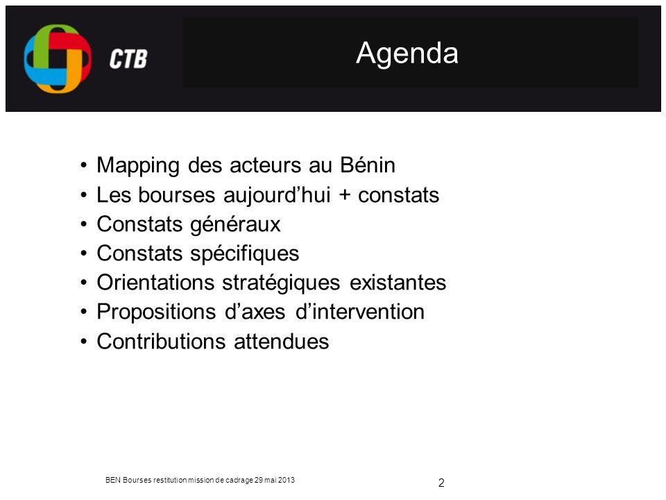 Agenda Mapping des acteurs au Bénin Les bourses aujourd'hui + constats