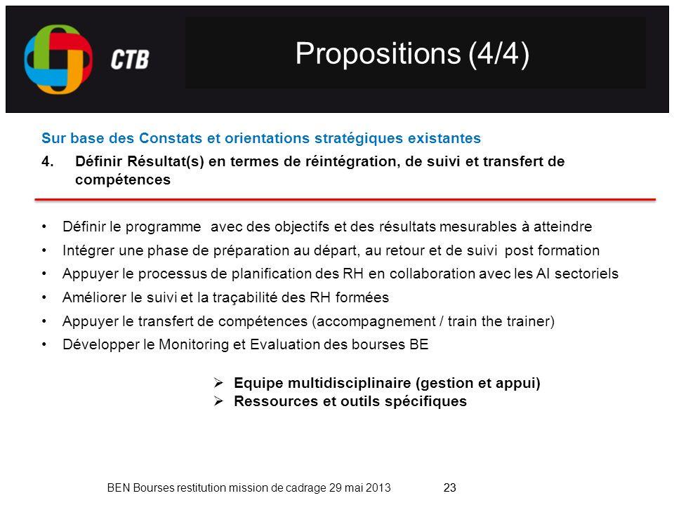Propositions (4/4) Sur base des Constats et orientations stratégiques existantes.