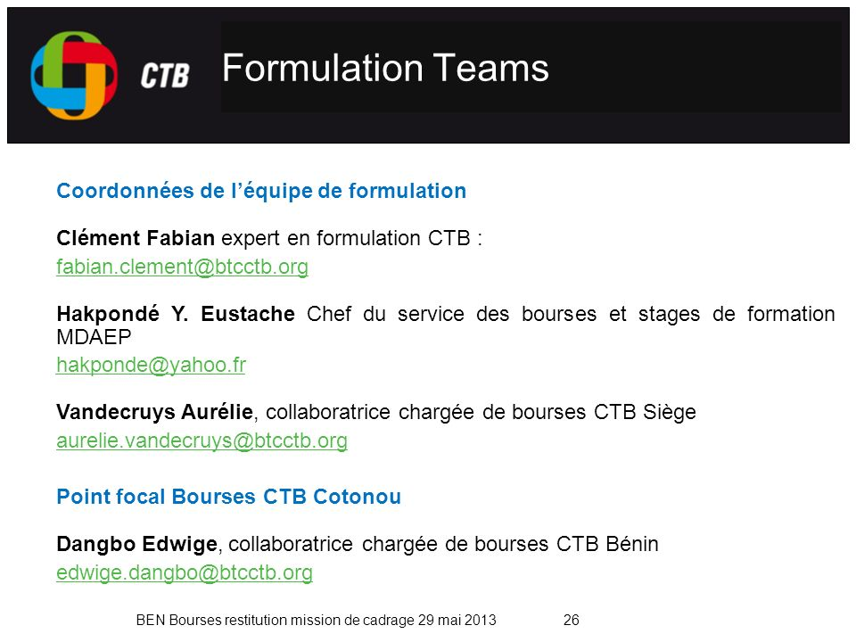 Formulation Teams Coordonnées de l'équipe de formulation