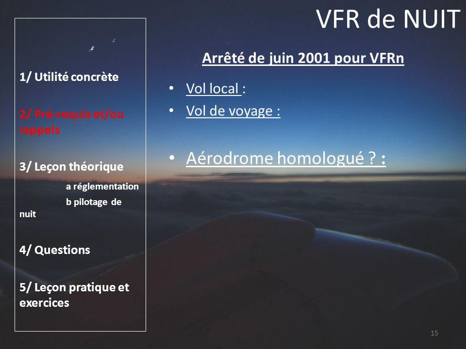 Arrêté de juin 2001 pour VFRn