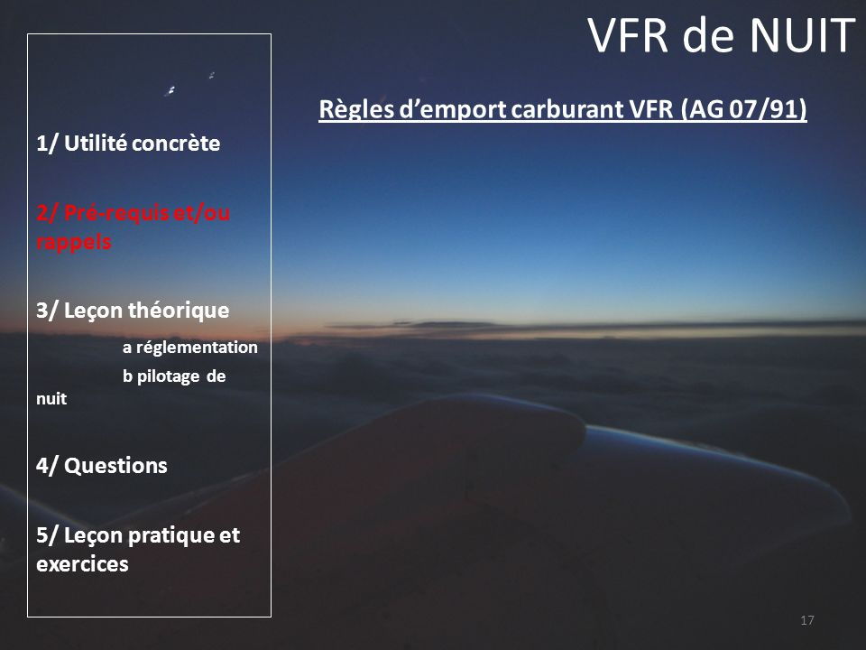 Règles d'emport carburant VFR (AG 07/91)