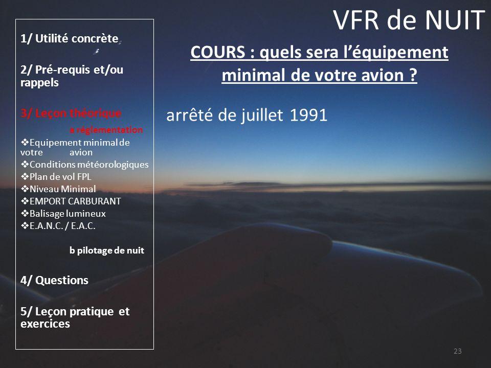 COURS : quels sera l'équipement minimal de votre avion