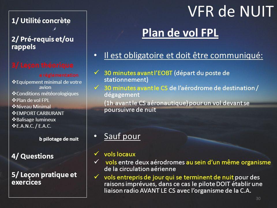 VFR de NUIT Plan de vol FPL