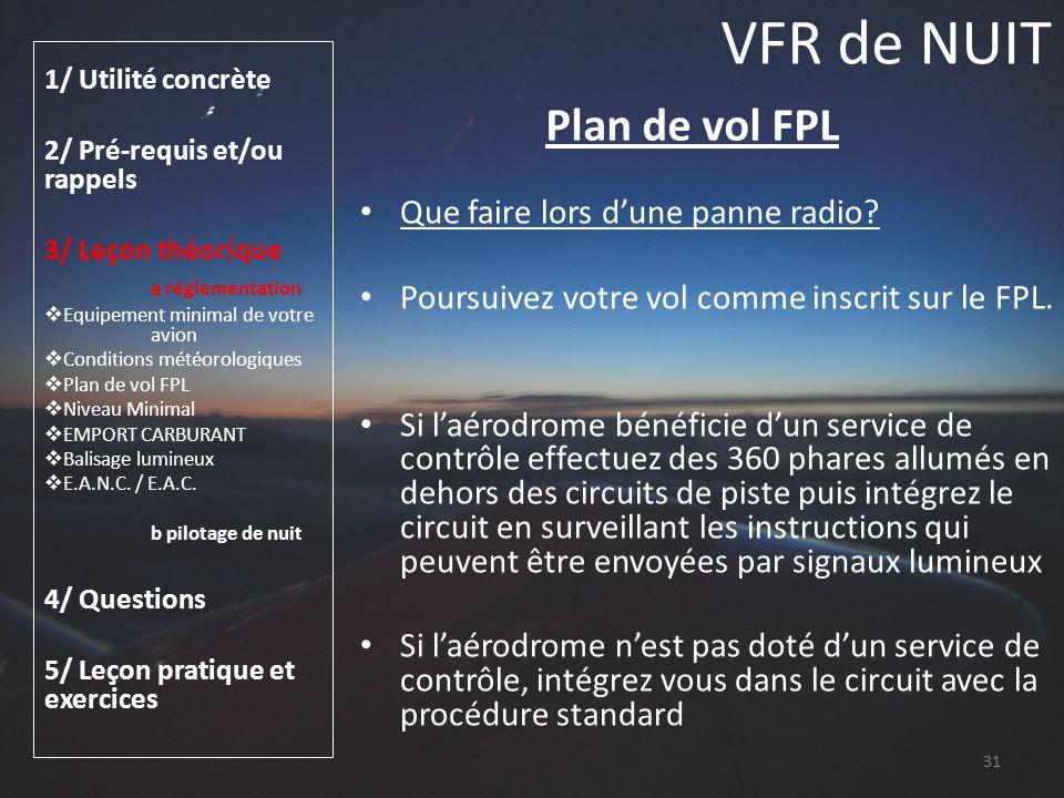 VFR de NUIT Plan de vol FPL Que faire lors d'une panne radio