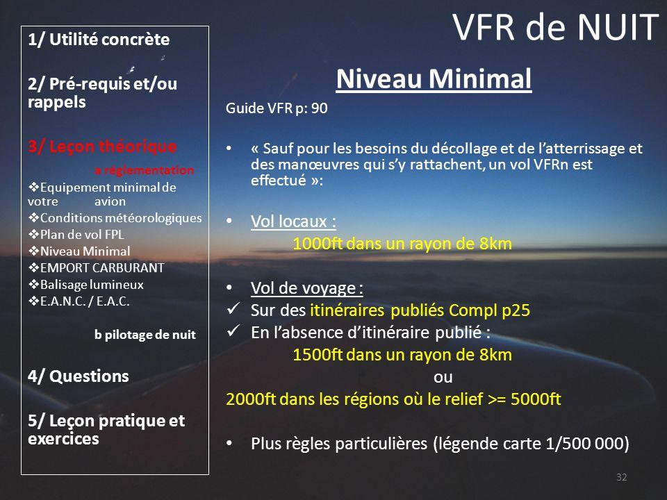 VFR de NUIT Niveau Minimal 1/ Utilité concrète