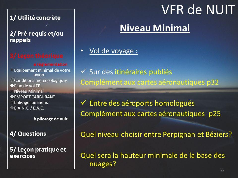 VFR de NUIT Niveau Minimal Vol de voyage : Sur des itinéraires publiés