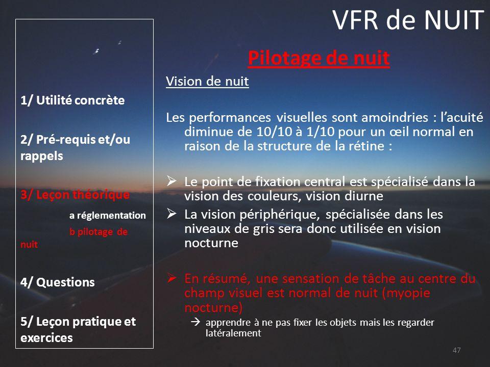 VFR de NUIT Pilotage de nuit Vision de nuit