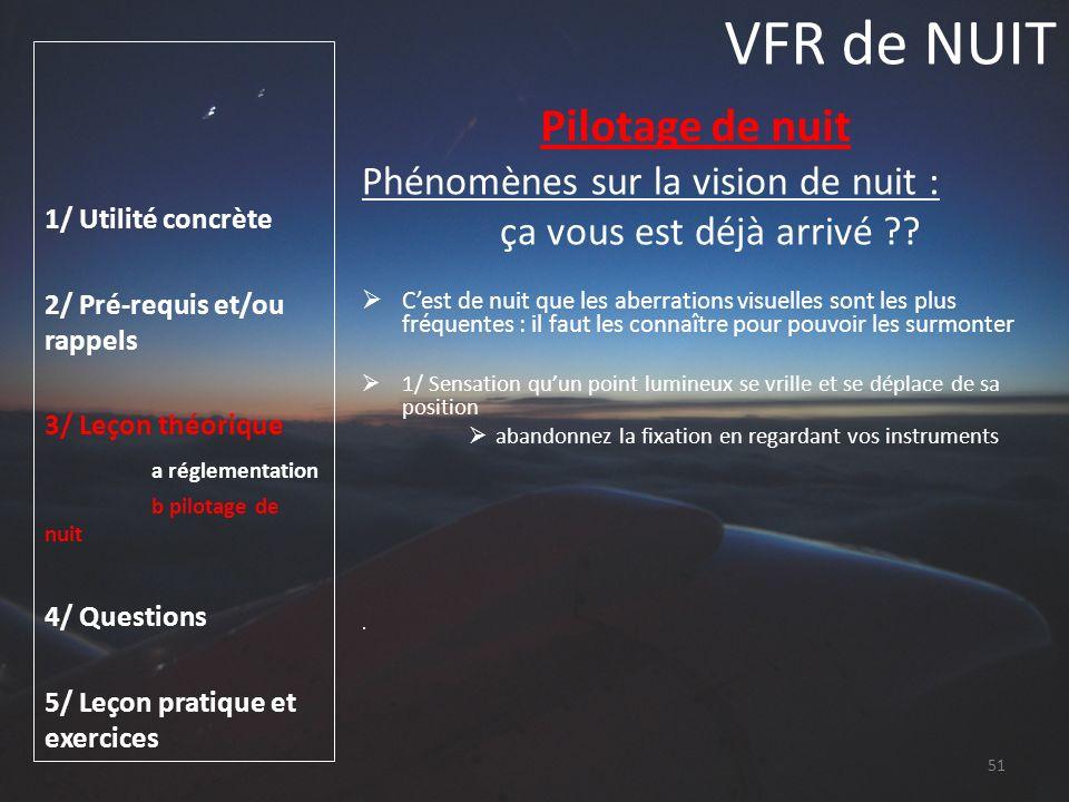 VFR de NUIT Pilotage de nuit Phénomènes sur la vision de nuit :