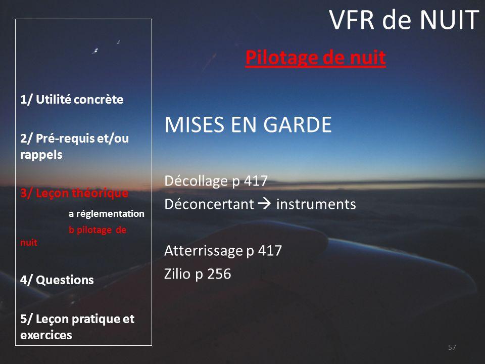 VFR de NUIT MISES EN GARDE Pilotage de nuit Décollage p 417