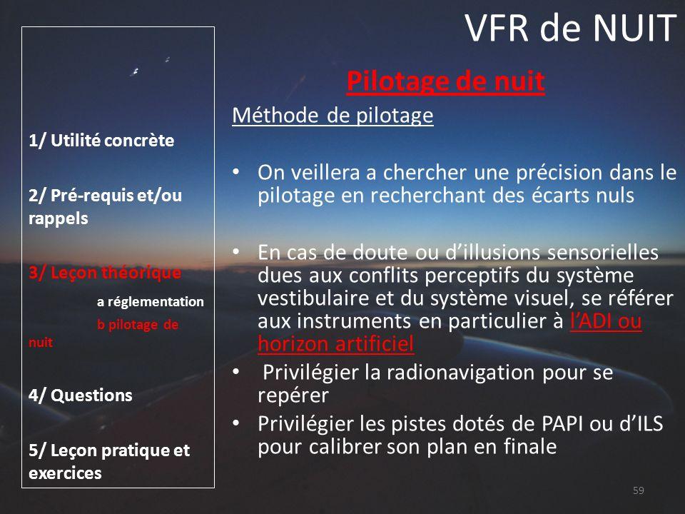VFR de NUIT Pilotage de nuit Méthode de pilotage
