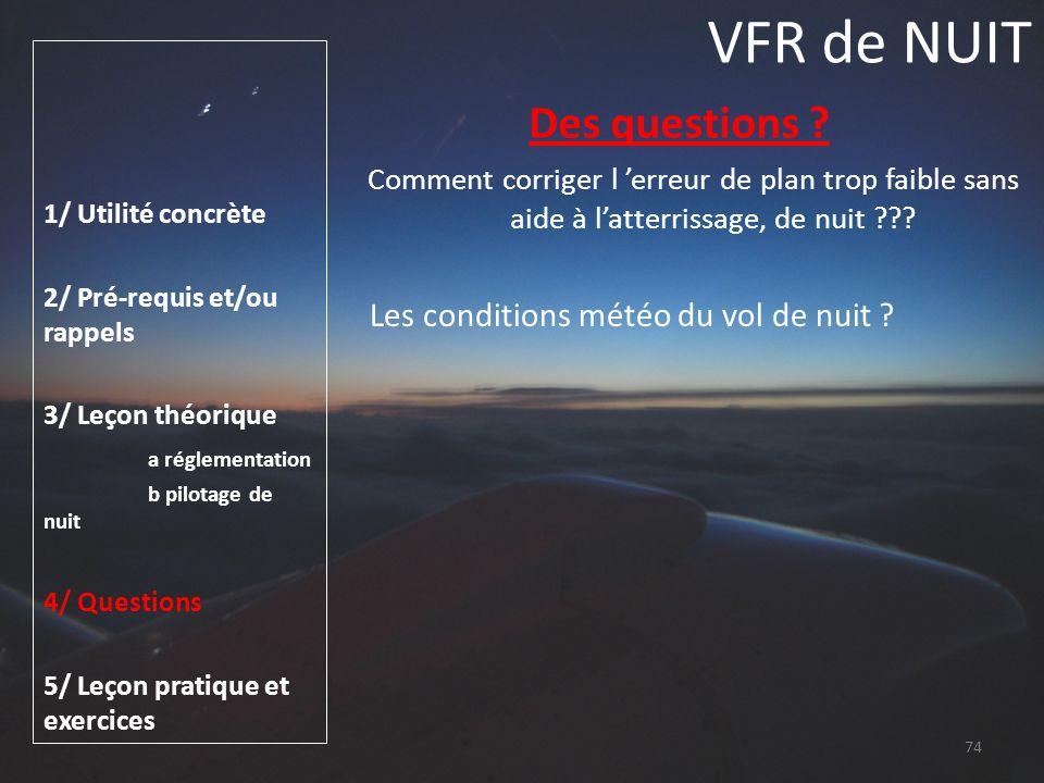 VFR de NUIT Des questions Les conditions météo du vol de nuit