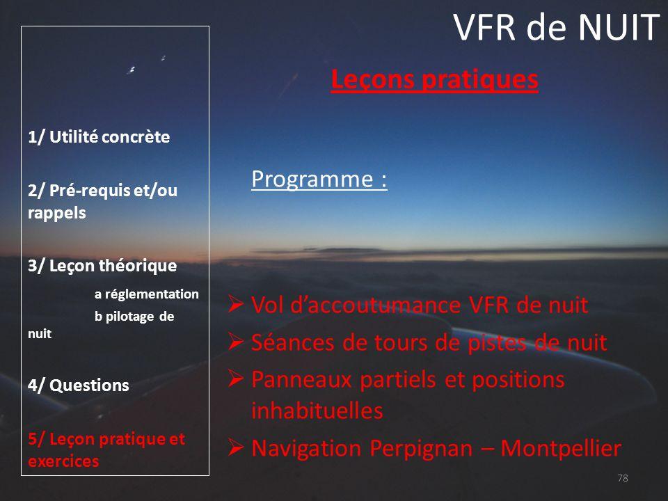 VFR de NUIT Leçons pratiques Vol d'accoutumance VFR de nuit