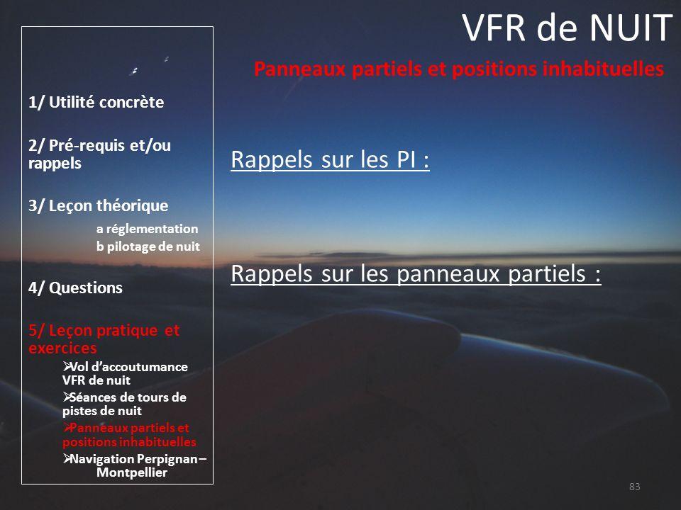 VFR de NUIT Rappels sur les PI : Rappels sur les panneaux partiels :