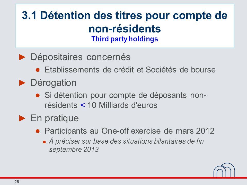 3.1 Détention des titres pour compte de non-résidents