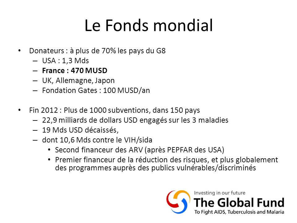 Le Fonds mondial Donateurs : à plus de 70% les pays du G8