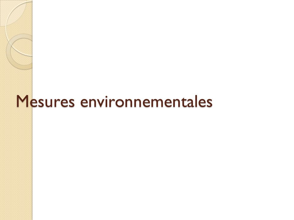 Mesures environnementales