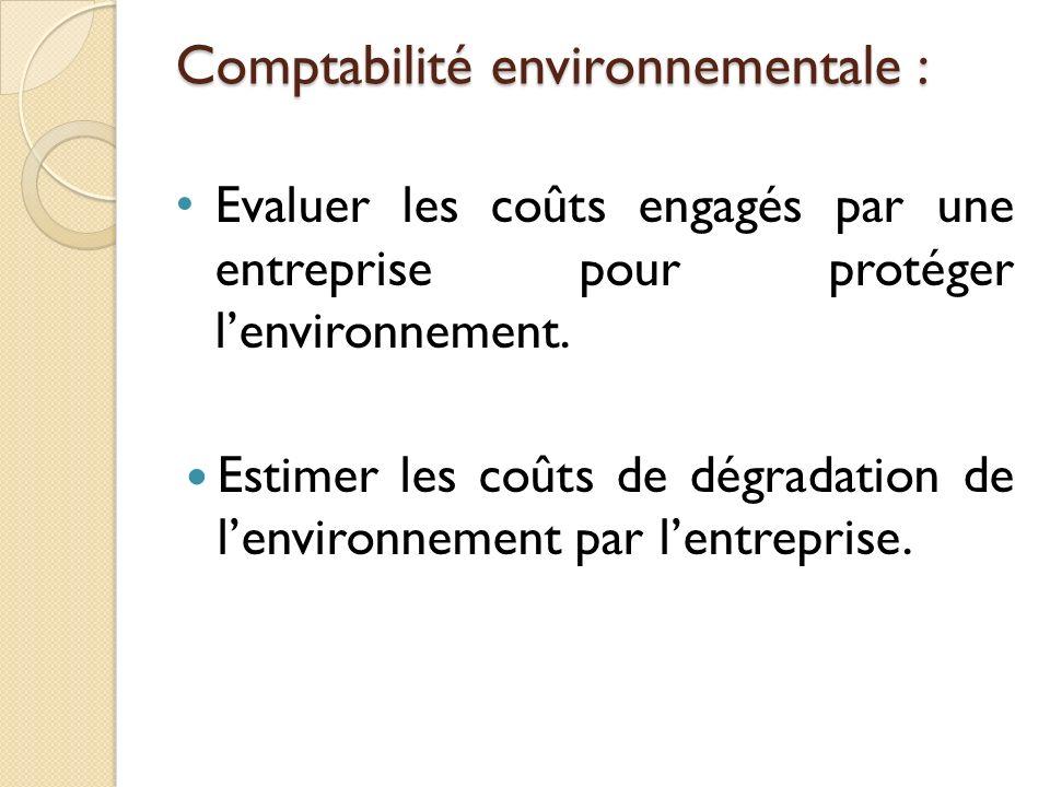 Comptabilité environnementale :