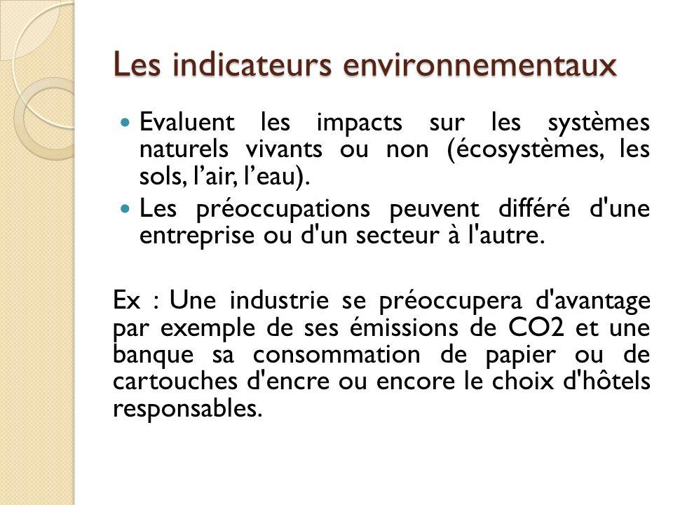 Les indicateurs environnementaux