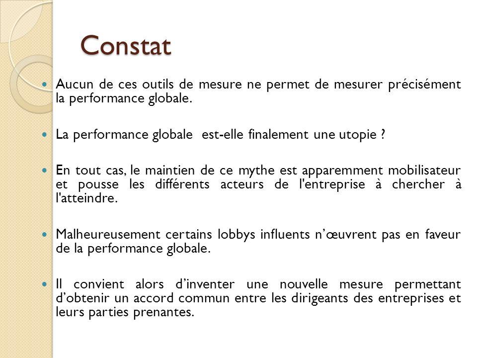 Constat Aucun de ces outils de mesure ne permet de mesurer précisément la performance globale.