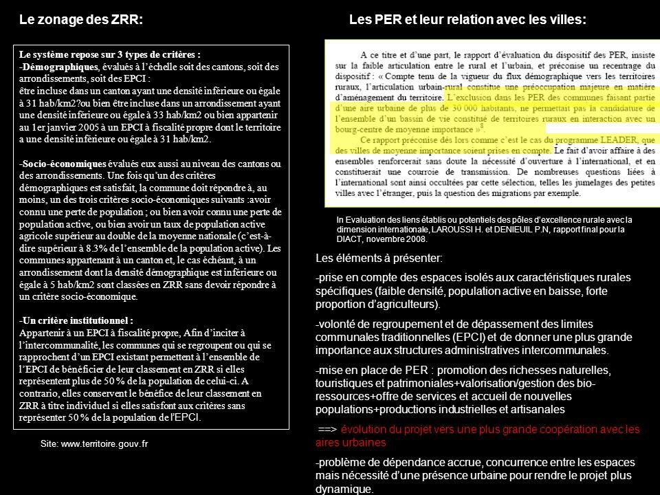 Le zonage des ZRR: Les PER et leur relation avec les villes: