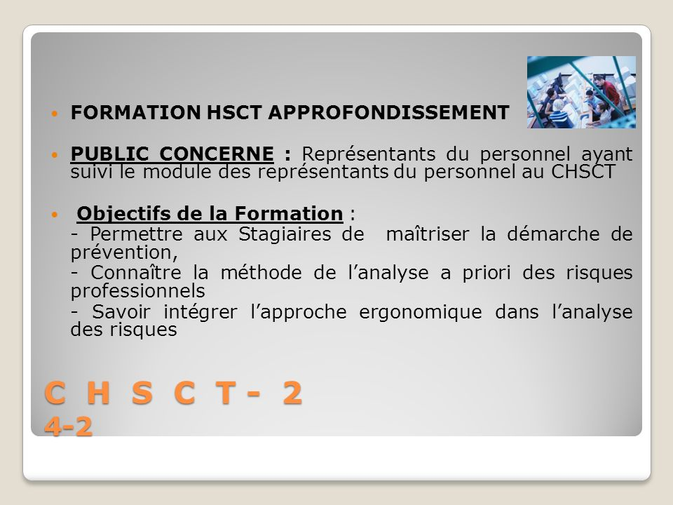 C H S C T - 2 4-2 FORMATION HSCT APPROFONDISSEMENT