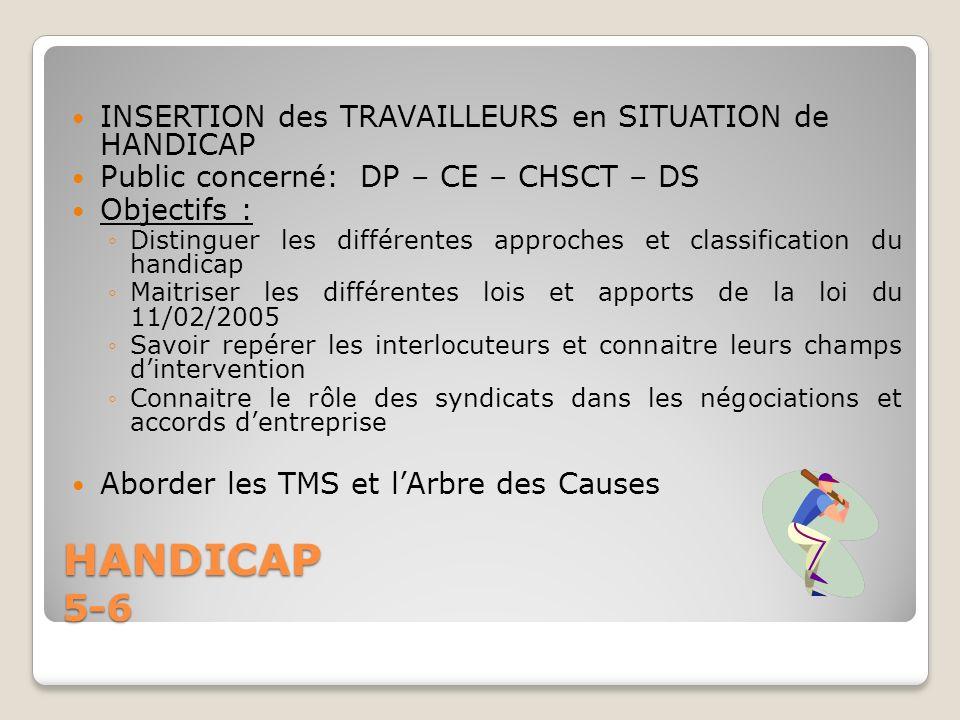HANDICAP 5-6 INSERTION des TRAVAILLEURS en SITUATION de HANDICAP