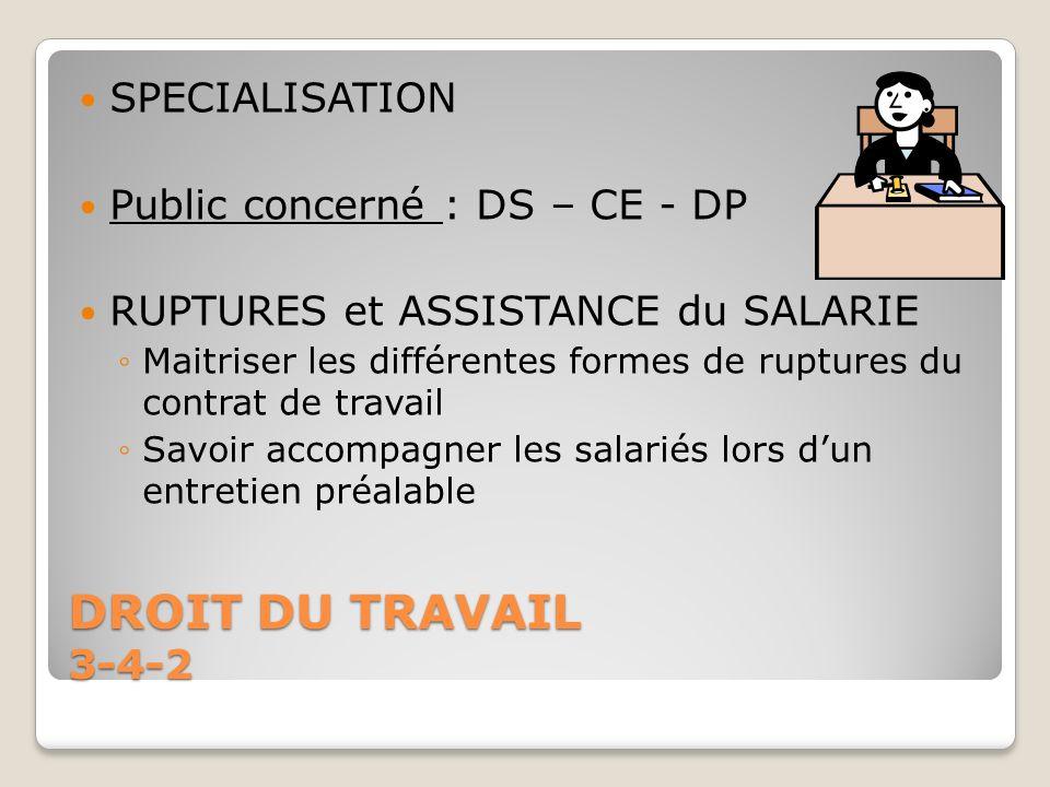 DROIT DU TRAVAIL 3-4-2 SPECIALISATION Public concerné : DS – CE - DP