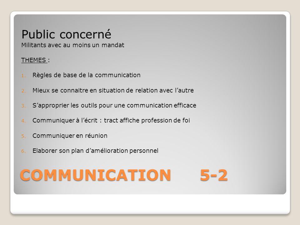 COMMUNICATION 5-2 Public concerné Militants avec au moins un mandat