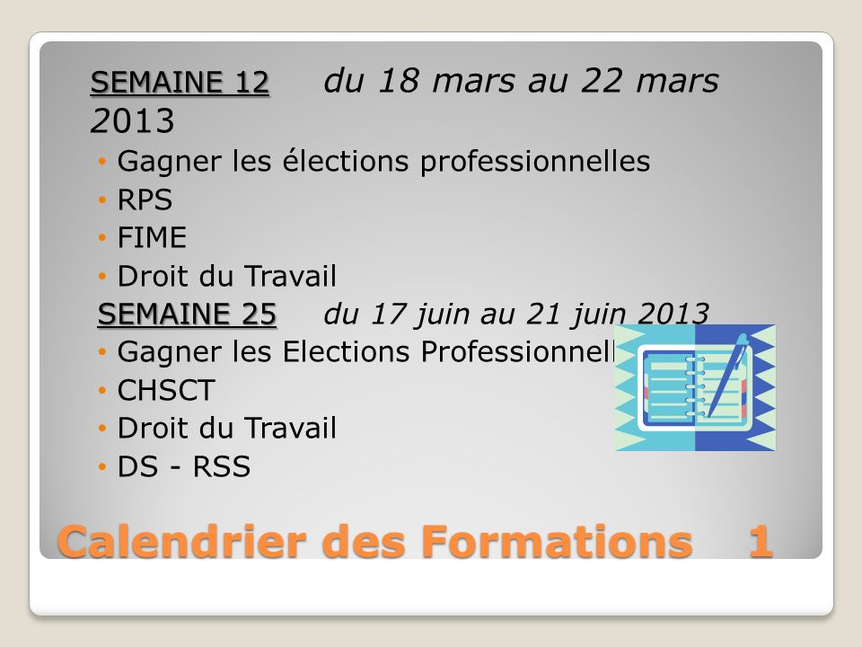 Calendrier des Formations 1