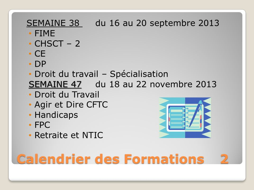 Calendrier des Formations 2