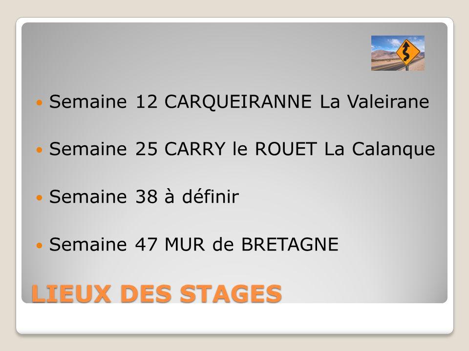 LIEUX DES STAGES Semaine 12 CARQUEIRANNE La Valeirane