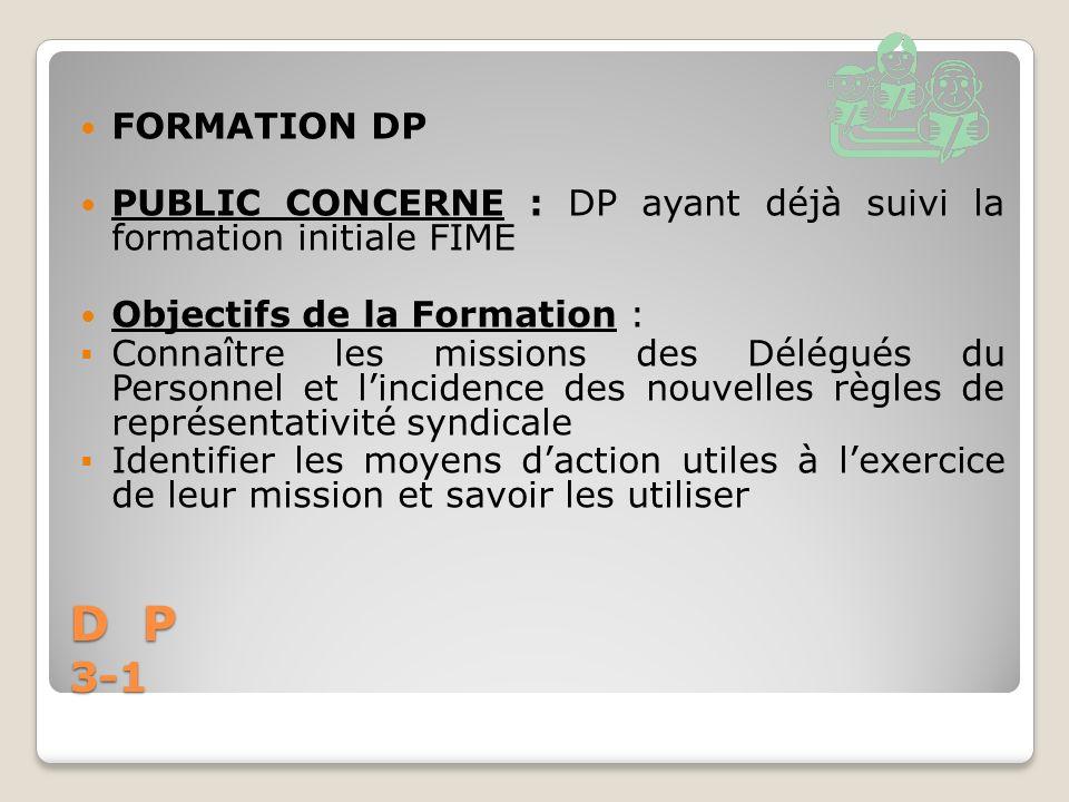 FORMATION DP PUBLIC CONCERNE : DP ayant déjà suivi la formation initiale FIME. Objectifs de la Formation :