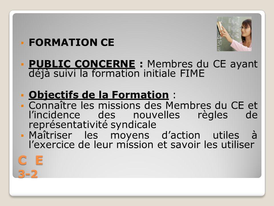 FORMATION CE PUBLIC CONCERNE : Membres du CE ayant déjà suivi la formation initiale FIME. Objectifs de la Formation :