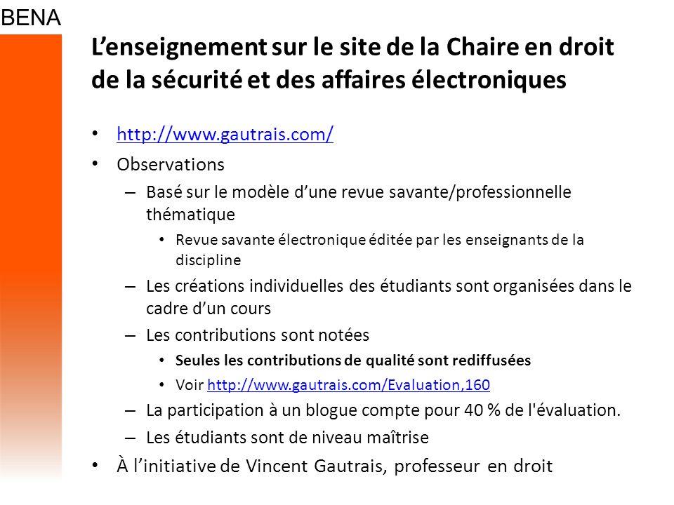 L'enseignement sur le site de la Chaire en droit de la sécurité et des affaires électroniques