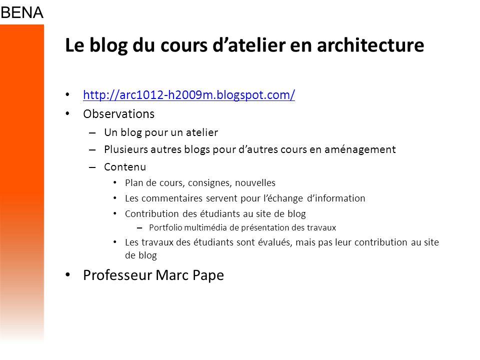 Le blog du cours d'atelier en architecture