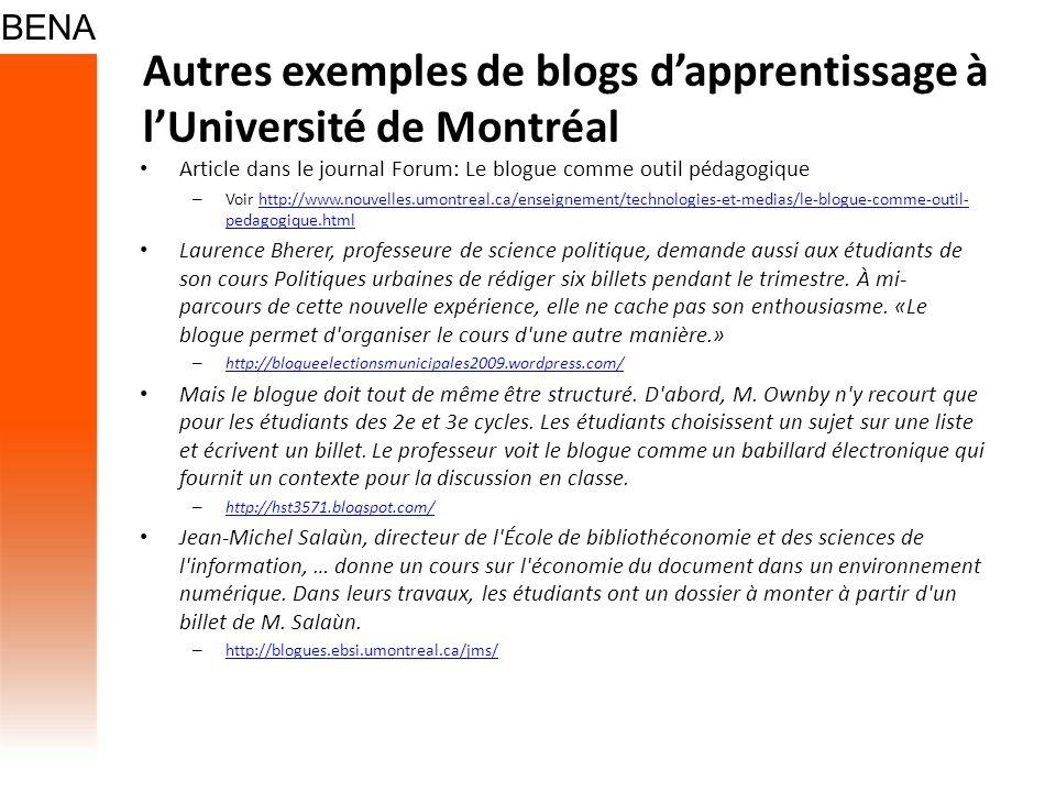 Autres exemples de blogs d'apprentissage à l'Université de Montréal
