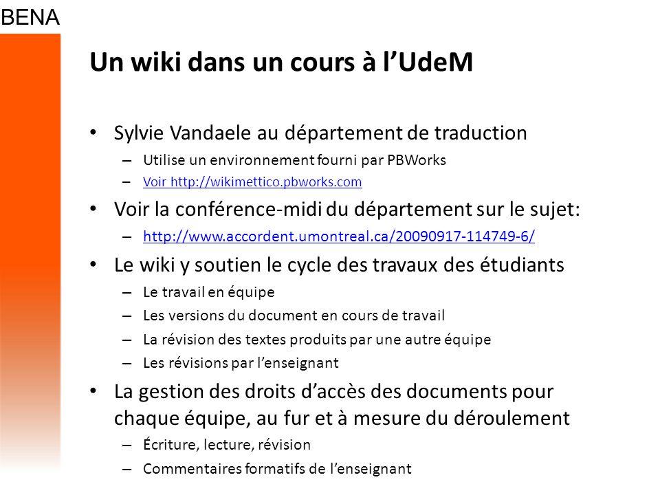 Un wiki dans un cours à l'UdeM
