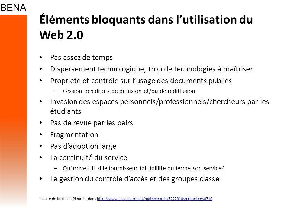 Éléments bloquants dans l'utilisation du Web 2.0
