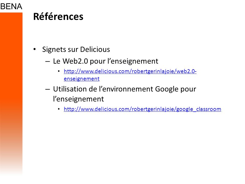 Références Signets sur Delicious Le Web2.0 pour l'enseignement