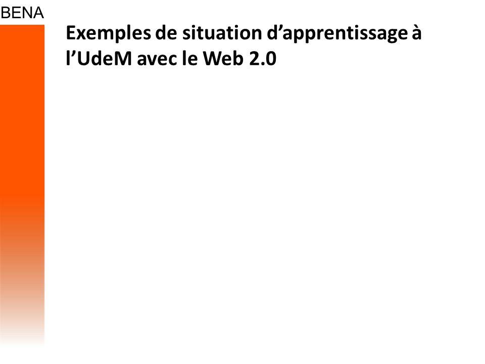 Exemples de situation d'apprentissage à l'UdeM avec le Web 2.0