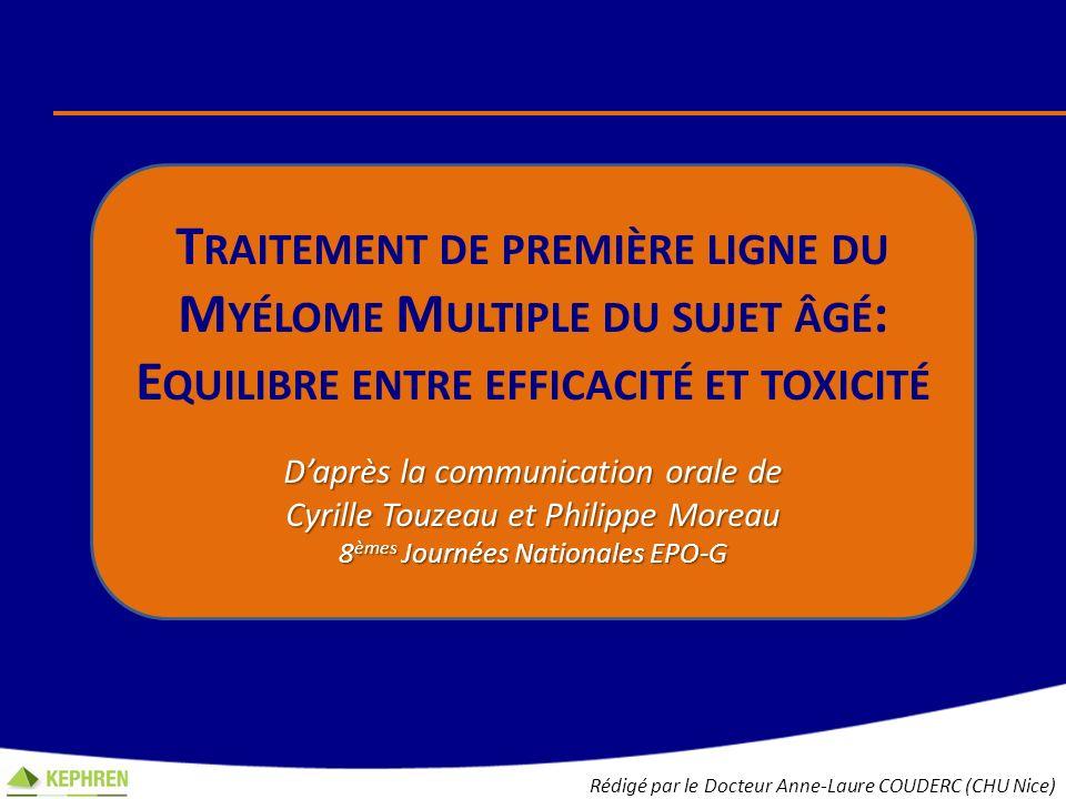Traitement de première ligne du Myélome Multiple du sujet âgé: Equilibre entre efficacité et toxicité